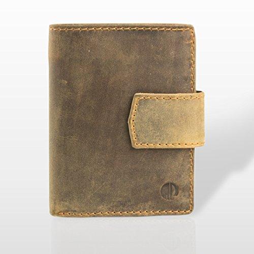 Marc Picard Handgemachte einzigartige Männer LEDER Portemonnaie GELDBÖRSE Kartenbörse BRIEFTASCHE Geldbeutel KARTENETUI Wallet –Vintage Kalbsleder (Tan) (Brieftasche Geldbörse Französisch Damen)