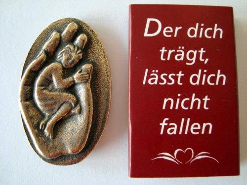 """Handschmeichler Bronze Plakette \""""Der dich trägt, lässt dich nicht fallen\"""" Original Handarbeit Abtei Maria Laach 801045/7"""