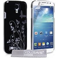 YouSave Samsung Galaxy S4 Tasche Und Silber Harte Blumen Schmetterling Hülle - Schwarz