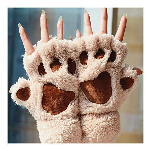 Herz Nette Kostüm Dame - Hjd Gloves Frauen Nette Katze Klaue Pfote Plüsch Handschuhe Warme Weiche Plüsch Kurze Fingerlose Flauschige Bärenhandschuhe Kostüm Halbfinger Winter Gloves (Color : B)