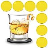 Zedtom 8-Stück Silikonuntersetzer Runde Untersetzer Silikon Untersetzer Glas, Tasse Untersetzer Set für Familie, Bar, Wohnzimmer, Küche-5 Farbe(Gelb)