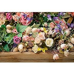 Cassisy 1,5x1m Vinilo Primavera Fondo de Fotografia Arreglo Floral Vistoso Tienda de Flores Mesa de Madera Telón de Fondo Photo Booth Party Niños Photo Studio Props