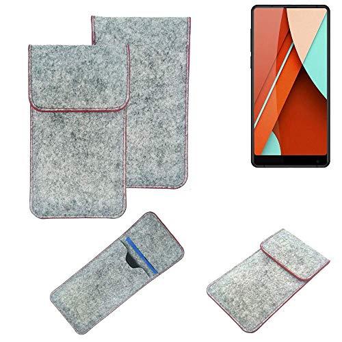 K-S-Trade® Filz Schutz Hülle Für Bluboo D5 Pro Schutzhülle Filztasche Pouch Tasche Case Sleeve Handyhülle Filzhülle Hellgrau Roter Rand