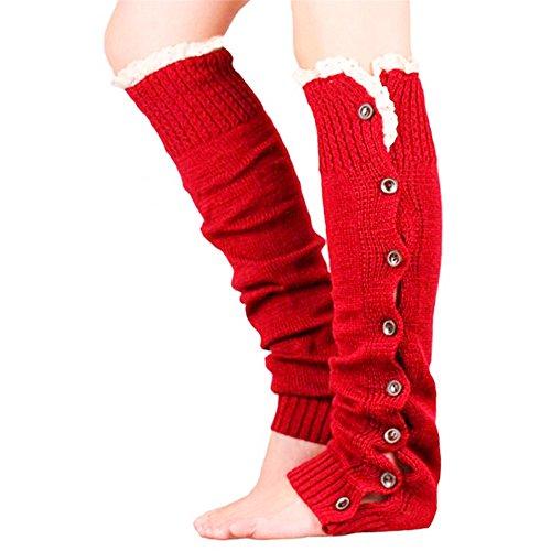 KingNew Häkel-Stricksocken, Stiefelsocken, gestrickte Gamaschen für Damen, Beinwärmer mit Knopf, in Rot -