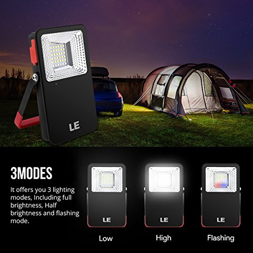 LE 10W Portable LED Flood lights, 700lm Rechargeable Camping Lantern, 5400mAh Power Bank, 3 Mode Daylight Security Light with SOS, Waterproof Work Light for Home Car Indoor Outdoor Hiking Tent Emergency