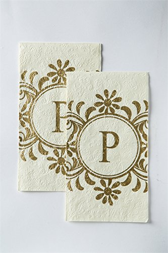 Cypress Home Embossed Monogram P Paper Guest Napkin, 90 count by Cypress
