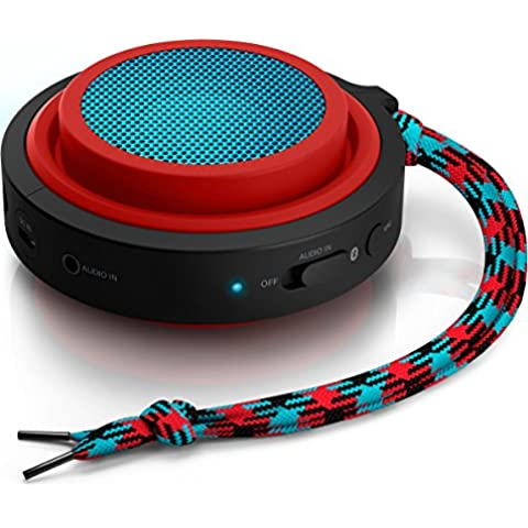 Philips BT2000R/00 - Altavoz portátil con Bluetooth (2 Watt, batería integrada (12h), plegable), color