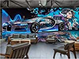 BZDHWWH Benutzerdefinierte 3D Fototapete Wohnzimmer Wandbild Straße Graffiti Sport Auto 3D Bild Kaffeehaus Ktv Bar Hintergrund Wandaufkleber,90 Cm×60 Cm