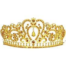 Remedios Royal Cristal Rhinestone boda Prom Pageant Tiara Celada Corona velo nupcial diadema con colgante