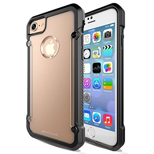 Coque Apple iPhone 7, TECHGEAR® iPhone 7 (4.7 Pouces) [FUSION ARMOUR] Coque Protective Svelte Anti-Choc (Noir Entier) Noir/Givré (FUSION ARMOUR)