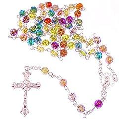 Idea Regalo - Rosario Cristiano Lungo Con Perline Floreali Arcobaleno Multicolore