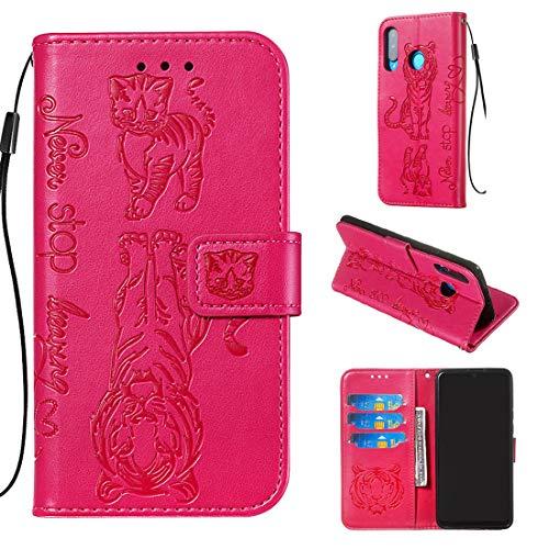 Lyzwn Huawei P30 Lite Hülle, Katze&Tiger Muster geprägtes handyhüllen PU Flip Wallet Stylish Cover Leder Magnetisch und Kartenhalter Standfunktion Tasche Schutzhülle Case für Huawei P30 Lite -