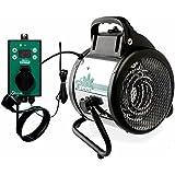 Calefactor de ventilador Bio Green Palma digital, plata / negro, 2000W