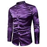 VEMOW Herbst Frühling Winter Herrenhemd Slim Fit Langarm Casual Tagesgeschäft Business Formale Taste Shirts Formale Mid-Season Top Bluse(Violett 2, EU-54/CN-XL)