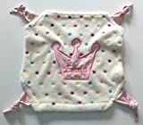Kuschliges Jungen - Mädchen - Baby Kuscheltuch Krone u Namen bestickt ca 32 cm (rosa)