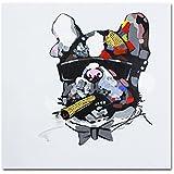 Fokenzary Peint à la main. Peinture Bulldog Fumer Cigare sur toile. Pop Décoration murale. Encadrée prête à suspendre., Toile, 16x16in