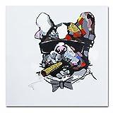 Pintura pintada a mano de un Bulldog fumando un puro sobre lienzo enmarcado para decorar la pared y listo para colgar, lona, 16x16in