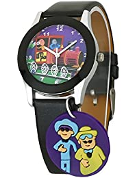 Dk LMP3 Newest Motu Patlu Cartoon Character Dangle Multi Color Dial Black Leather Strap Analogue Wrist Watch For...