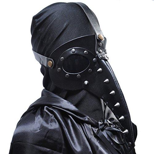 Homedecoam Schnabelmaske Pest-Maske Doktor Arzt PU Leder Schwarz Steampunk Kostüm für Erwachsene Halloween Party Fasching - Venezianische Pest Doktor Kostüm