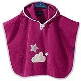 Morgenstern, hochwertiger Frottee - Bade - Poncho aus 100 % Baumwolle, Farbe brombeere , Motiv Stern, Größe one size (ca. 1 bis 3 Jahre)