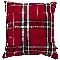"""Funda inspirado escocés Tartan Diseño de cuadros tejido cojín relleno cojines británico hecho a mano rojo color–Tamaño grande–55cm x 55cm–22""""x 22pulgadas"""