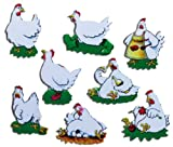 Kühlschrankmagnete Kinder Hühner Magnete für Magnettafel stark 8er Set Tiere lustig mit Motiv Comic Huhn
