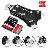 Tvird Kartenleser,SD/Micro SD Kartenleser Kartenlesegerät 4 in 1 Speicherkartenleser Kamera-Kartenleser mit Lightning-Anschluss, USB 2.0 Card Reader Adapter für iPhone/iPad/Android/PC-Laptop