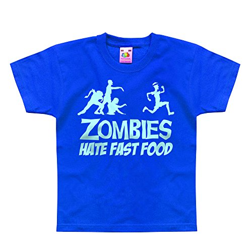 Nutees Zombies Hate Fast Food Running Jogging Komisch Unisex Kinder T Shirts - Königsblau 9/11 Years (10 Top Halloween-witze)