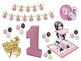 Partydeko Set 1.Geburtstag Kindergeburtstag 14 teilig rosa Mädchen 1.Geburtstag Girlande Luftballon Tortenkerze