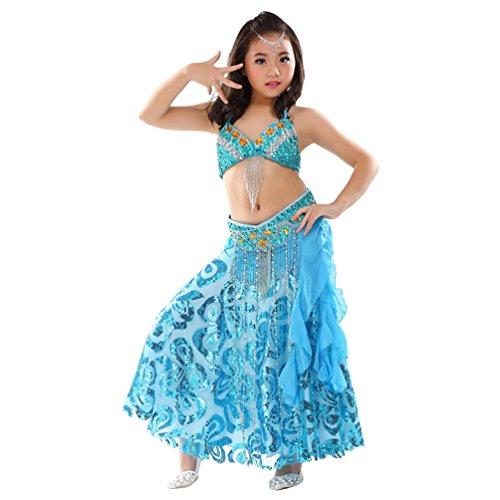uchtanz Kostuem Kinder Tanzkleid Top+Rock Dance Kleidung Halloween Karneval Darbietungen Set Blauer See (3PC) One Size (Bauchtänzerin Kostüm Kind)