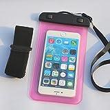 PHARRI-Custodia universale impermeabile, Borsa a secco con fascia da braccio per nuoto, barche del Rafting, sci, vestibilità SE/iPhone 5/5S/5C, iPhone 6 Plus/6S, Samsung S3/S4 con altri dispositivi Smart, rosa, iPhone 6 Plus