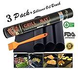 BBQ Grill mats-100% antihaftbeschichtet, einfach zu reinigen, Elektro und Gas grill-reusable- 40x 33cm-Set von 3+ Silikon Öl Pinsel
