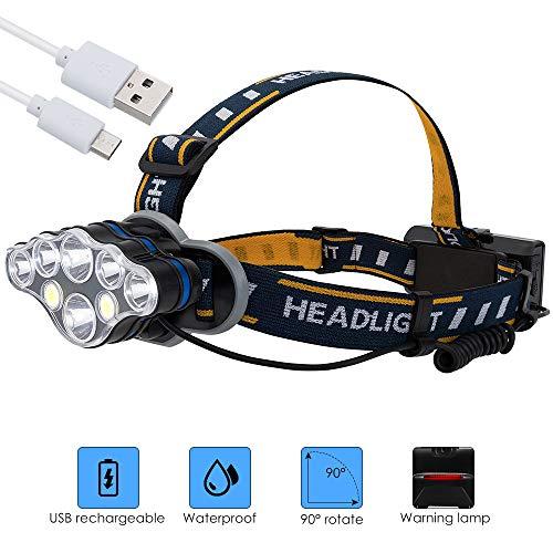 SKYSPER Linterna Frontal Recargable LED 8 Modos Súper
