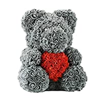 Angelo Morris Bonnie Bear Toys Creative Artificial Rose Bear 38cm Kids Dolls Everlasting Flower Home Decoration for Birthday Gift (Grey Bear)