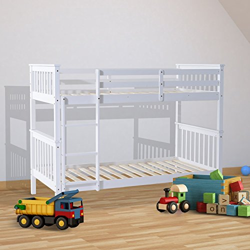 HOMCOM 3ft Single Wooden Bunk Bed Frame ONLY for Adult Children Twin Double Sleeper Bedroom Furniture – White