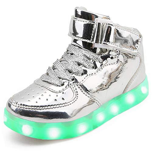 Unisex Kinder LED leuchtende Schuhe Turnschuhe USB Lade Flashing Schuhe Mädchen Sportschuhe Jungen Hohe Sneakers (Silber 40 EU)