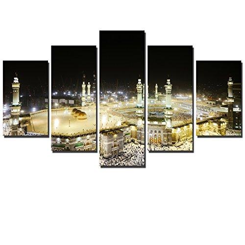 60x100cm - 5 Panel Leinwand Wandkunst - Muslim Mekka Poster Kunst Mohammed Tomb Drucke auf Leinwand für Wohnzimmer (PG4021, 20x30cmx2 20x45cmx2 20x60cm)