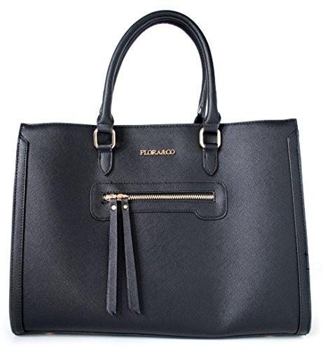 Flora + Co Jet Set Schwarz Saffiano Handtasche aus Vegan Leder limitiert (Michael Kors Taschen Neue Kollektion)