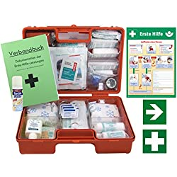 Erste-Hilfe-Koffer M5 PLUS für Betriebe DIN 13157 / EN 13157 Stand 2017 - Komplett-Paket incl. Notfall-Beatmungshilfe + Verbandbuch + Hände-Antisept-Spray + Aushang 1.Hilfe + Sprühpflaster