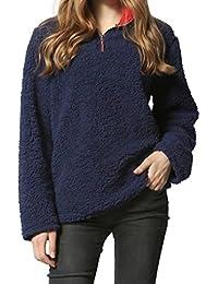 Amlaiworld Sweatshirts Winter Warm Rollkragen Sweatshirt Damen Langarm  Weich Flauschig Locker Pullis Plüsch Pullover b0656c58d1