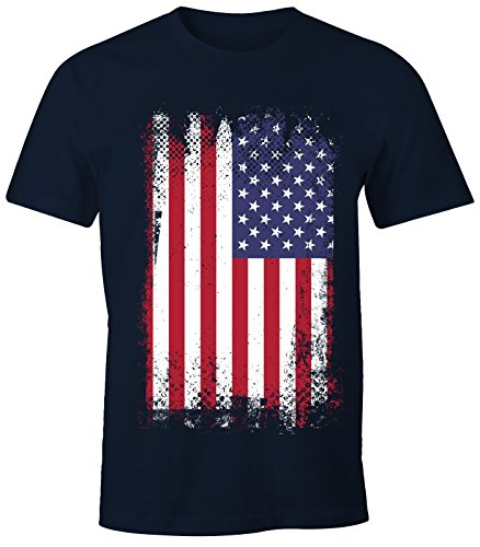 MoonWorks Herren T-Shirt - Amerika Flagge USA Flag United States of America - Comfort Fit Navy S