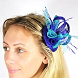 Turquoise & Deep Royal Blue Sinamay, & Feather Design Fascinator on 4 cm Spring Concorde Clip & Pin Fastening - Perfect for Weddings, Race Meetings And Any Other Special Occasion (AF6808)