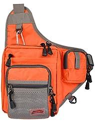 MadBite talón abierto Mochila Pesca Pesca Soft Tackle Bag Da Surf Pesca y pescadores de pesca Banco Fácil almacenamiento portátil - Grande como bolsa de mensajero y bolso de la honda (Orange)