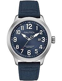 Nautica – nai10501g – Reloj Hombre – Cuarzo Analógico – Reloj Plata – Pulsera Nylon Azul