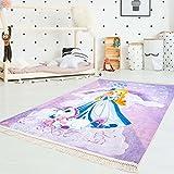 carpetcity Kinder-Teppich Druckteppich Flachflor Polyester Waschbar Einhorn Prinzessin Herz Sterne Schloß Lila Mädchen Kinderzimmer 130x200 cm