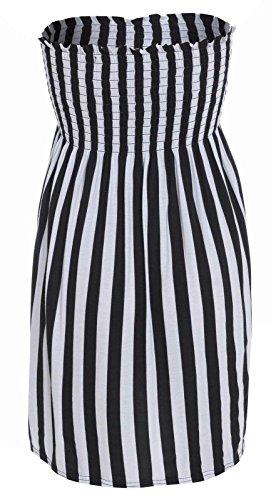 Janisramone Frauen Damen Plus Größe Sheering boobtube Bandeau-trägerloses Top-Weste-Kleid 8 22 VERTIKALE STREIFEN M/L (Vertikale Kleider)