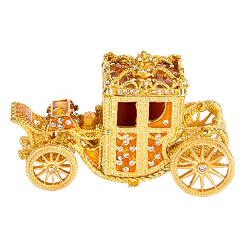 QIFU Vintage Style Hand Painted Royal Carriage Shape Jewelry Trinket Box With Rich Enamel And Sparkling Rhinestones | Unique Gift Home Decor | Best Ornament Your Collection …