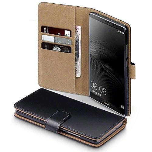 Mate 8 Case, Terrapin Handy Leder Brieftasche Case Hülle mit Kartenfächer für Huawei Mate 8 Hülle Schwarz mit Hellbraun Interior
