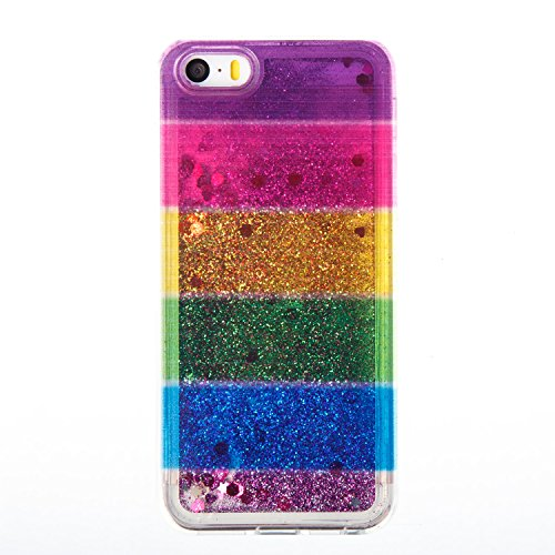 iPhone 5S Case, iPhone 5/5S Gliter Case, Edaroo [Rainbow Liquid Glitter] [Colorful Quicksand] Cute Creative Flowing Liquid Floating Glitter Bling Rubber Case for Apple iPhone 5/5S - Horizontal Stripe #4