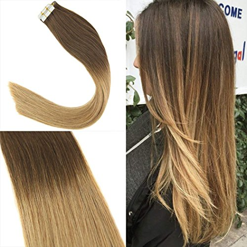 Sunny extension adesive capelli veri ombre marrone scuro a bionda caramello t4/27# 20 fasce remy capelli umani tape extensions 50cm 50g/set